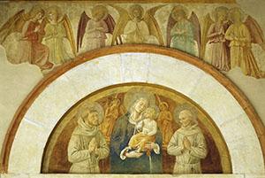 Vergine col Bambino tra i santi Francesco e Bernardino, Chiesa di San Fortunato, Montefalco.