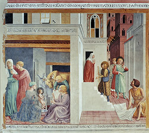 The Birth of Saint Francis, the Prophecy of the Pilgrim and the Homage of the Simple Man, Church of St. Francis, Montefalco.
