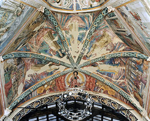 Saint Francis and Five Saints from the Franciscan Order in Glory with Angels, vault of the Chapel of the Choir, Church of St. Francis, Montefalco.