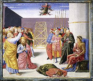 Caduta di Simon Mago, predella della pala Alessandri, Metropolitan Museum of Art, New York.