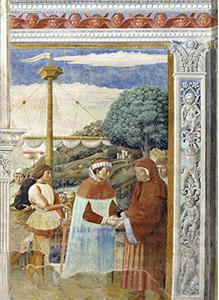 Agostino dopo l'incontro con  Fausto di Milevi decide di partire per Ostia, chiesa di Sant'Agostino, San Gimignano.