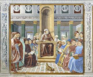 Saint Augustine Opens a School of Rhetoric in Rome, Church of St. Augustine, San Gimignano.