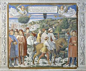 Il viaggio di Agostino da Roma per Milano, chiesa di Sant'Agostino, San Gimignano.