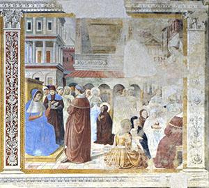 Saint Augustine Hears Ambrose Preach, Church of St. Augustine, San Gimignano.