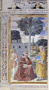 Agostino legge la lettera di San Paolo ai Romani e si converte, chiesa di Sant'Agostino, San Gimignano.