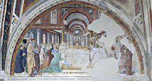 Agostino consacrato vescovo benedice il popolo di Ippona, chiesa di Sant'Agostino, San Gimignano.