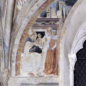 La disputa con l'eretico Fortunato, chiesa di Sant'Agostino, San Gimignano.