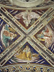 Dettaglio della volta con i quattro Evangelisti, chiesa di Sant'Agostino, San Gimignano.
