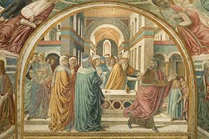 La Cacciata di Gioacchino, tabernacolo della Visitazione, Museo Benozzo Gozzoli, Castelfiorentino.