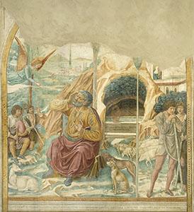 Il Sogno di Gioacchino, tabernacolo della Visitazione, Museo Benozzo Gozzoli, Castelfiorentino.