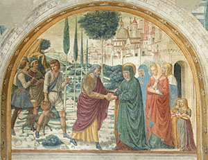 Encounter of Joachim and Anne near the Porta Aurea (Golden Gate), Tabernacle of the Visitation, Benozzo Gozzoli Museum, Castelfiorentino.