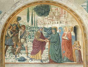 L'Incontro di Gioacchino e Anna presso la Porta Aurea, tabernacolo della Visitazione, Museo Benozzo Gozzoli, Castelfiorentino.