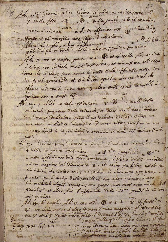 Galileo Galilei, Diario autografo delle osservazioni di Giove