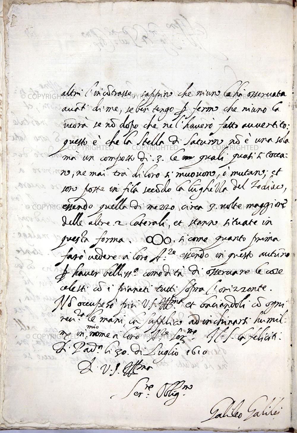 Galileo Galilei, Lettera a Belisario Vinta