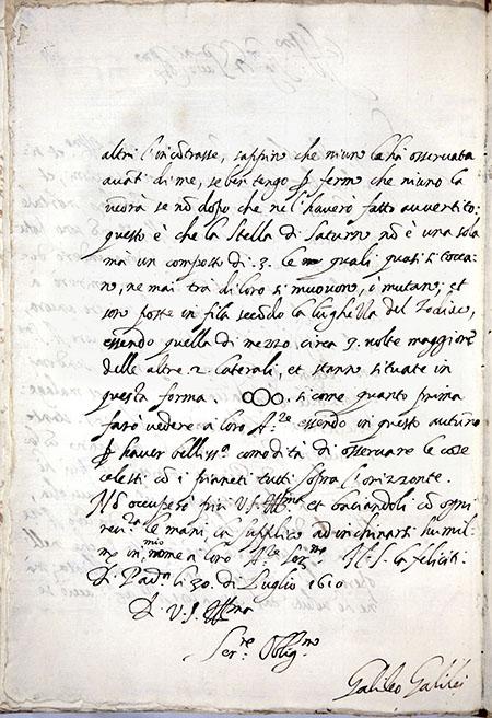 Galileo Galilei, Letter to Belisario Vinta