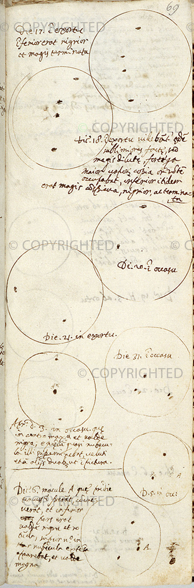 Galileo Galilei, Disegni delle macchie solari
