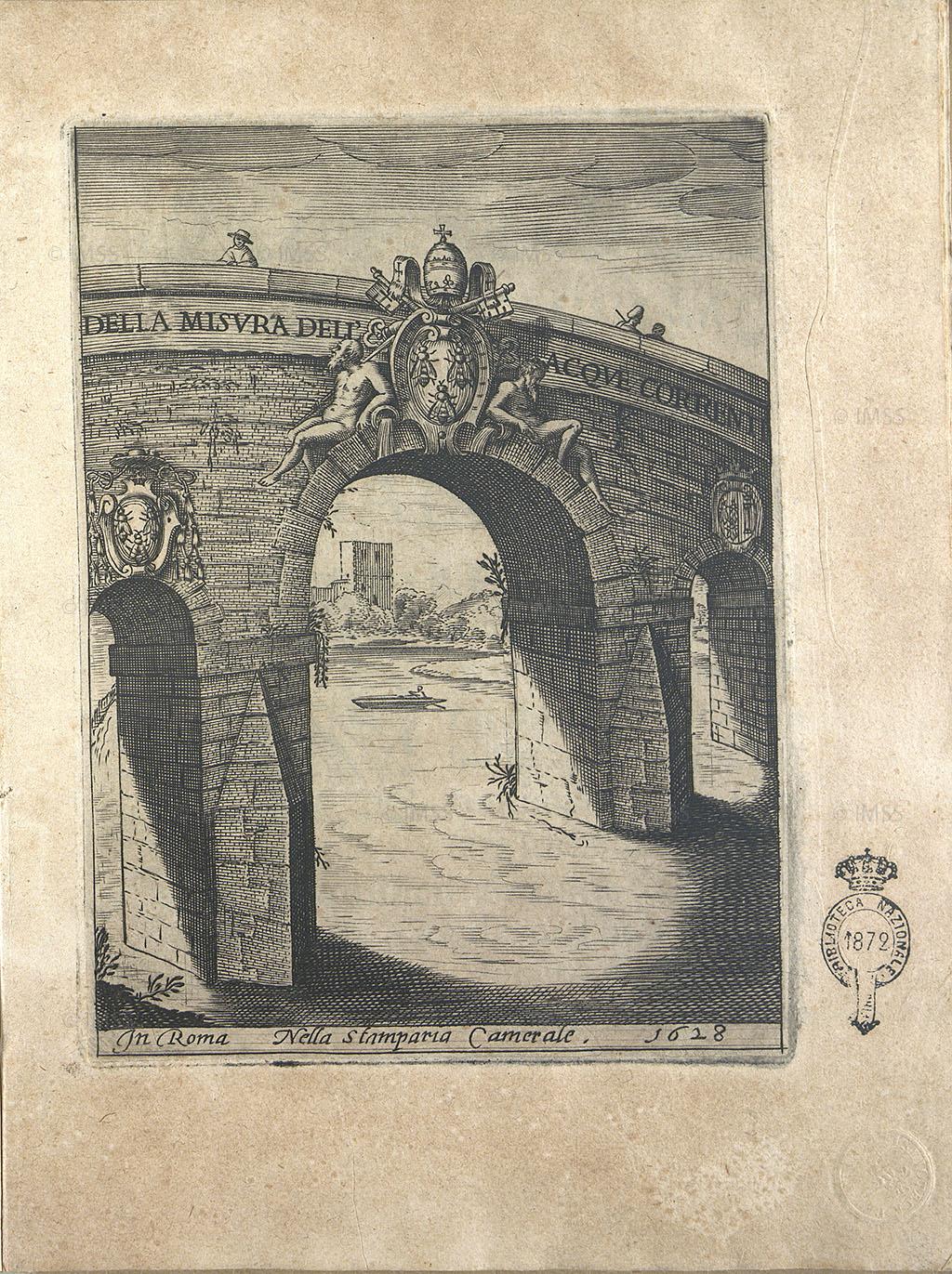 Alla sommità dei tre archi del ponte si notano lo scudo e le api di casa Barberini sormontate, nell'arco principale, dalle chiavi di S. Pietro e dalla tiara papale.