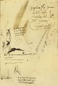 """Codice Arundel, 274r. - Annotazioni sull'Arno e il Bisarno: """"300 braccia a rotta del Bisarno in 4 anni"""", c. 1504."""