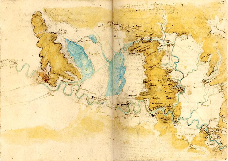 Codice di Madrid II, 22v-23r. - Studi per la deviazione dell'Arno, c. 1503-1504.