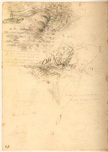 Codice di Madrid II, 41r. - Vento e onde, la barca e la terra, c. 1504.