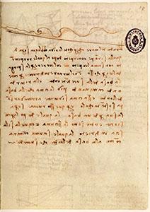 """Codice di Madrid II, 64r. - """"L'onda del mare che percote la riva obliqua"""", c. 1504."""