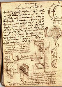 """Ms. G, 43v. - """"La sagoma sia di lastra da Fiesole, con acqua"""", c. 1515. Si tratta di un probabile riferimento a una macchina sagomatrice, e Leonardo prevede l'uso di pietra serena fiesolana."""