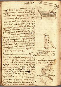 """Ms. G, 84v. - """"Ricordati delle saldature con che si saldò la palla di Santa Maria del Fiore. Di rame improntato in sasso come li triangoli d'essa palla"""", c. 1515."""