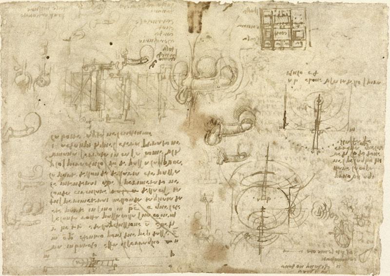 """RLW 19106v . - Tra i fogli di studi anatomici, Leonardo annota in questo, databile 1508-1510, esperienze  sull'analogia tra l'idraulica e l'acustica. In particolare parla di un esperimento da fare in casa, rifacendosi a osservazioni su una botte a Campi Bisenzio:  """"Intenderai aver sperimentato nella parte dell'onda dell'aria che passa per lo spiraculo donde passa la voce umana serrata in chasa, come vidi in a Campi di quel ch'era serato nella botte aperta nel cuchiume"""" (o cocchiume, apertura nella botte praticata nel punto di massimo diametro, dove si inserisce il tappo)."""