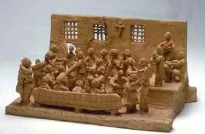 Scena manicomiale realizzata da un ricoverato dell'Ospedale Psichiatrico San Niccolò di Siena, anni '70.