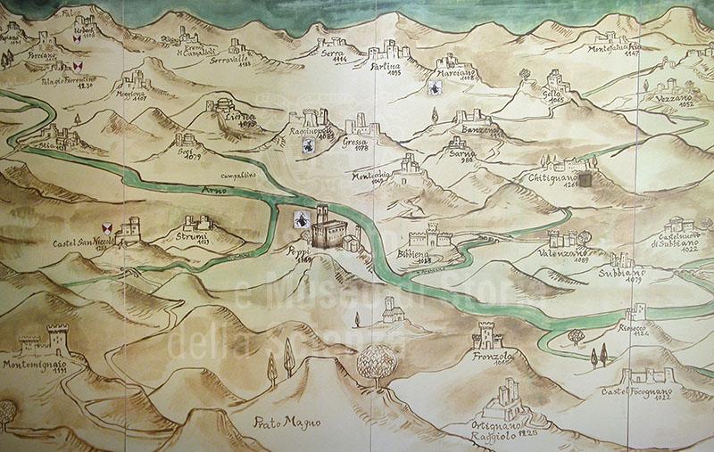 Mappa raffigurante l'incastellamento del Casentino, Museo della Civiltà Castellana, Castel San Niccolò.