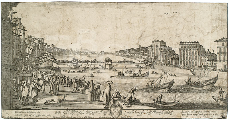 View of Pisa during the bridge game, engraving by Anton Francesco Lucini, after a drawing by Stefano della Bella, Roma, Giangiacomo Rossi, 1649 (BNCF, N.A. Cartelle, 11,27).