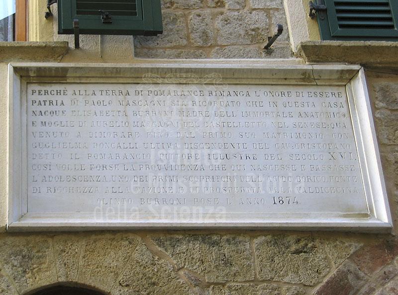 Lapide sulla casa di Paolo Mascagni, Pomarance.
