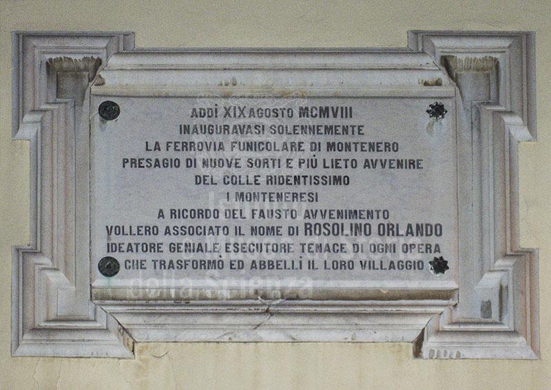 Lapide in ricordo di Rosolino Orlando, Montenero, Livorno.