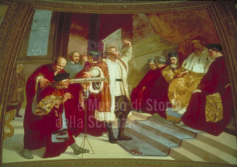 """Galileo Galilei presenta il telescopio al senato veneziano radunato sul campanile di San Marco a Venezia. Affresco di Luigi Sabatelli, 1840 (Museo di Storia Naturale di Firenze - Sezione di Zoologia """"La Specola"""" - Tribuna di Galileo)."""