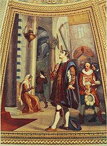 """Galileo osserva la lampada nel Duomo di Pisa"", affresco di Luigi Sabatelli, Tribuna di Galileo, Firenze."