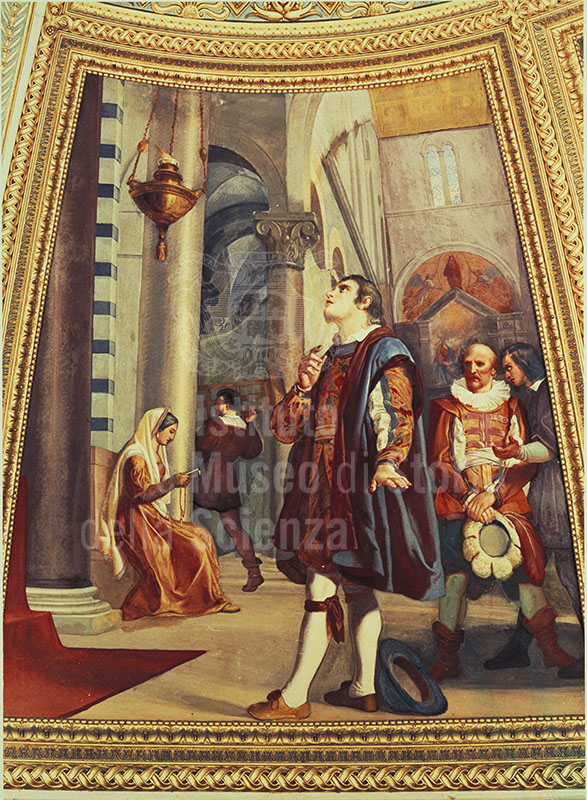 "Galileo Galilei osserva la lampada nel Duomo di Pisa. Affresco di Luigi Sabatelli, 1840 (Museo di Storia Naturale di Firenze - Sezione di Zoologia ""La Specola"" - Tribuna di Galileo)."