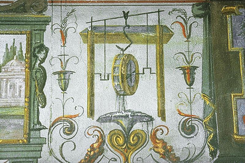 Scena affrescata raffigurante una ruota idraulica, Stanzino delle Matematiche, Galleria degli Uffizi, Firenze.