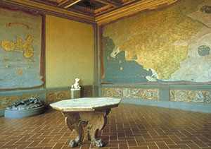 "View of the Hall of Geographic Maps in the Galleria degli Uffizi, with the frescoes by Ludovico Buti and Stefano Buonsignori representing the ""Map of the State of Siena"" and the ""Map of the Island of Elba""."
