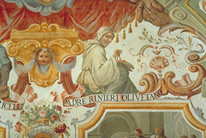 Mathematics. Detail with a portrait of Vincenzo Renieri. Fresco with tempera retouches by Agnolo Gori, 1663 (Uffizi Gallery, Florence, east corridor, span 74).
