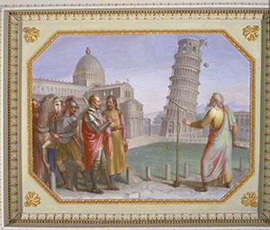 Alla presenza del Granduca, Galileo effettua l'esperimento della caduta dei gravi dalla Torre di Pisa. Tempera su muro di Luigi Catani, 1816 (Firenze, Palazzo Pitti, Quartiere Borbonico o Nuovo Palatino, sala 15).