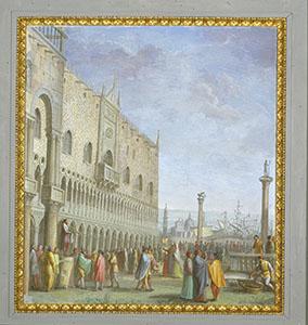 Galileo Galilei con alcuni allievi in piazza San Marco a Venezia prova le prime lenti con le quali costruirà il cannocchiale.  Tempera su muro di Luigi Catani, 1816 (Palazzo Pitti, Firenze, Quartiere Borbonico o Nuovo Palatino, sala 15).