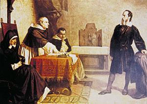 Galileo Galilei davanti al Tribunale dell'Inquisizione. Olio su tela di Cristiano Banti, 1857 (Collezione Elena Fragni, Milano).