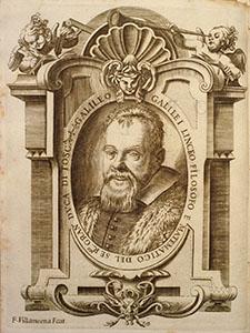 Ritratto di Galileo Galilei. Incisione di Francesco Villamena (da Opere di Galileo Galilei, Bologna, per gli heredi del Dozza, 1656).