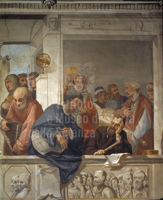 Glorificazione dei Toscani illustri. Dettaglio con la raffigurazione di Galileo Galilei. Affresco di Cecco Bravo, 1636 (Casa Buonarroti, Firenze)