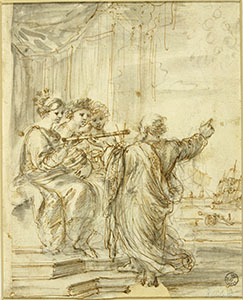 Preparatory study by Stefano della Bella for the cover of the Bolognese edition of 1656 of Galileo's works. Galileo is portrayed in the act of showing the Medicean stars (the satellites of Jupiter) to the personifications of Optics, Astronomy and Mathematics (Gabinetto Disegni e Stampe degli Uffizi, Firenze, n. 8042 F).