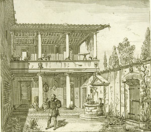 Galileo Galilei at his home in Arcetri. Engraving by Giovanni Battista Silvestri (from Taccuino di Giovanni Battista Silvestri architetto fiorentino, Firenze, Stamperia Magheri, 1833-1835, n. I).
