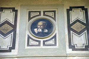 Casa di Galileo in Costa San Giorgio: particolare della facciata con il ritratto di Galileo Galilei, Firenze.