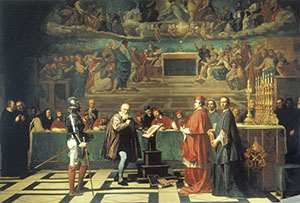 Galileo Galilei before the Holy Office. Oil on canvas by Joseph Nicolas Robert-Fleury, 1847 (Mus�e du Louvre, Paris).