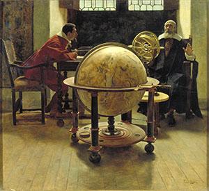 Galileo Galilei visitato da Vincenzo Viviani. Oilio su tavola di Tito Lessi, 1892 (Istituto e Museo di Storia della Scienza, Firenze)