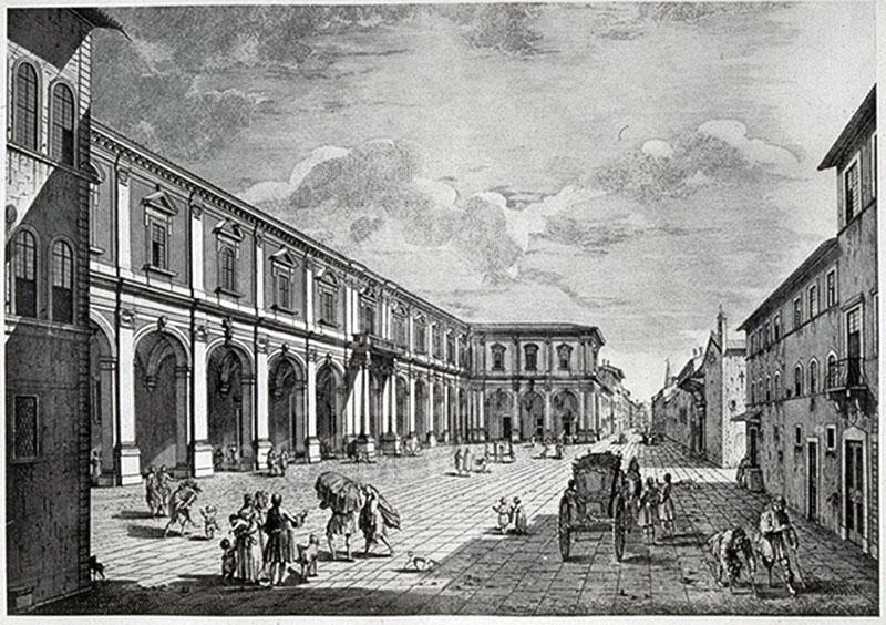 Stampa raffigurante l'Ospedale di Santa Maria Nuova di Firenze.